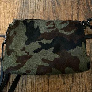 Camouflage leather shoulder bag